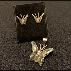 Jewelry - Vintage butterfly pendant and earrings set